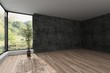 Leinwanddruck Bild - Spacious empty room with textured grey wall