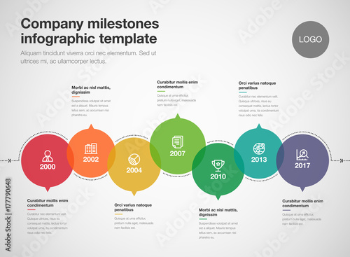 vector infographic company milestones timeline template isolated on