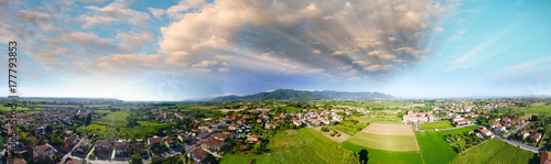 Poster Luchtfoto Panoramic aerial view of beautiful countryside