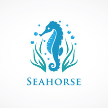 Seahorse Logo With Seaweed And...
