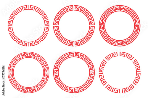 Photo  Chinese red circle frame set vector design.