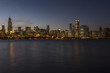 Chicago skyline in the evening with calm water