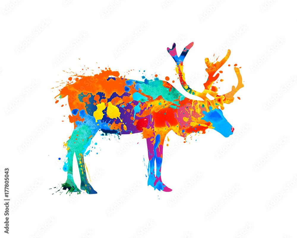Reindeer silhouette of splash paint