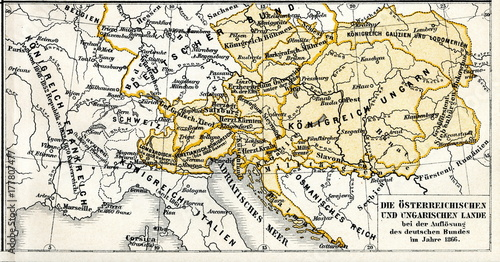 Fotografie, Tablou History of Austro-Hungarian Empire - Austrian and Hungarian lands in 1866, after