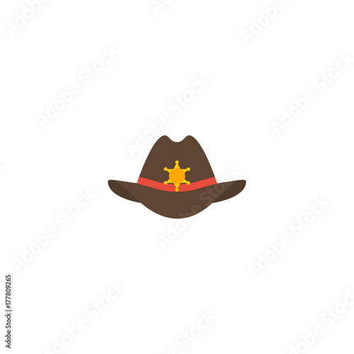 0726b03f735 Flat Icon Sheriff Hat Element. Vector Illustration Of Flat Icon Cowboy  Isolated On Clean Background