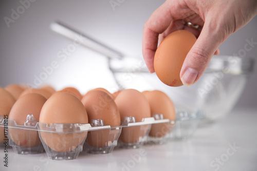 Plakat Ręka bierze jajo organiczne