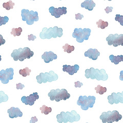 Fototapeta Do przedszkola Seamless pattern of soft blue clouds painted in watercolor.