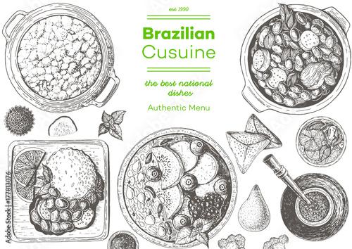 Foto  Brazilian cuisine top view frame