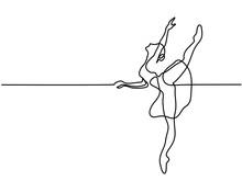 Continuous Line Art Drawing. Ballet Dancer Ballerina. Vector Illustration