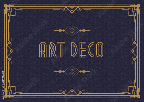 Wedding Invitation Card Template Horizontal Art Deco Style With Frame Gold Color On Cyan Background Greeting Menu Restaurant Cafe