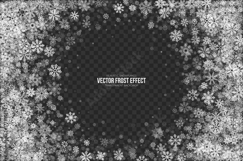 Photo Snow Vector Frost Effect with Realistic White Winter Snowflakes Isolated on Transparent Background