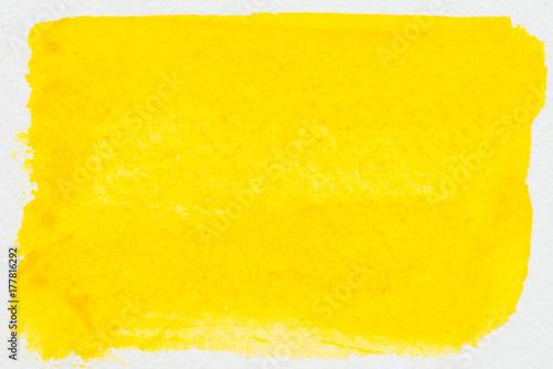 Plakat Żółty abstrakcyjny akwarela obraz teksturowane na białym tle papieru