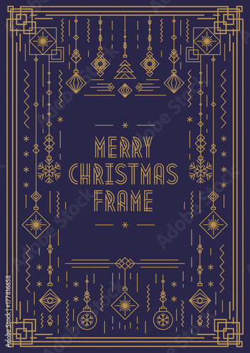 merry christmas frame template with new year toy art deco line style gold color on cyan