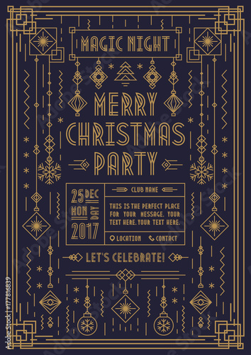 merry christmas poster for party with new year toy art deco line style gold color on