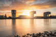 canvas print picture - Rheinauhafen Köln bei Sonnenuntergang
