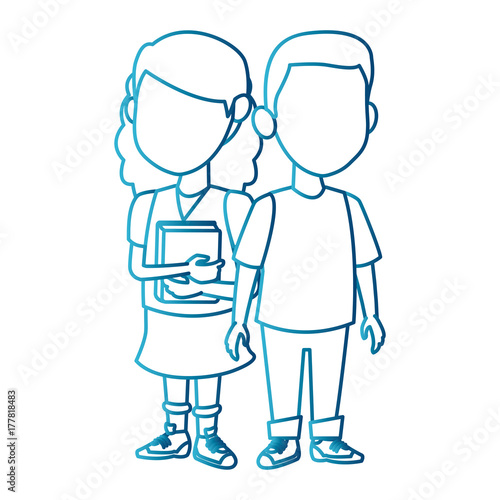 School Kids Friends Cartoon Icon Vector Illustration Graphic Design