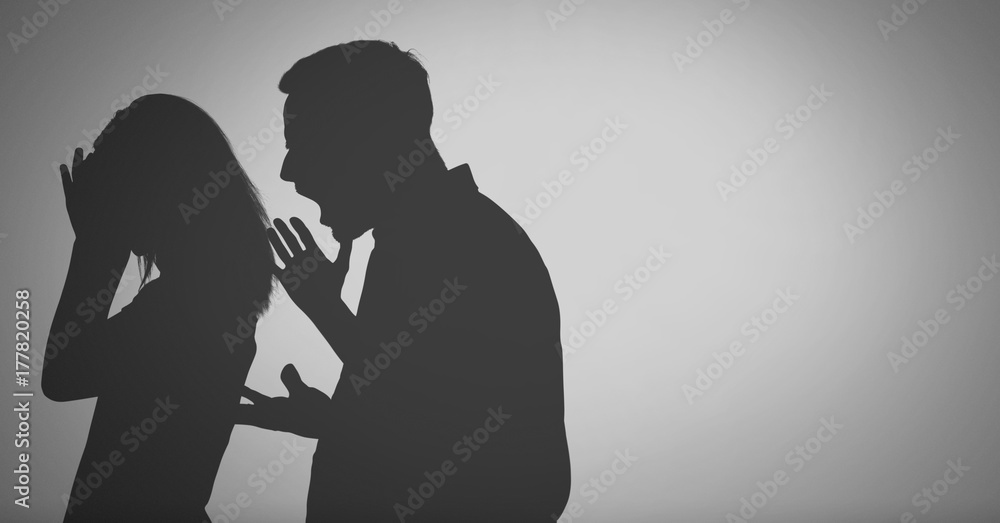Fototapeta grey background with shouting fighting parents silhouette