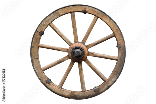 Fotografía  wooden wheel isolated on white with clipping path included