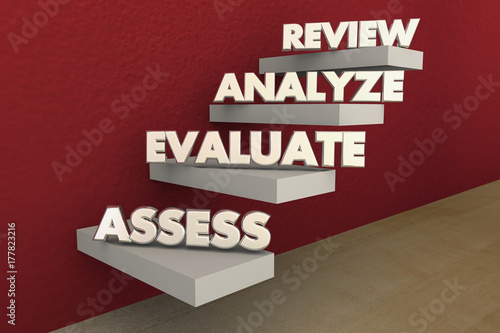 Photo Assess Evaluate Analyze Review Steps Process Stairs 3d Illustration