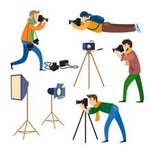 Set Of Photographers At Work And Professional Equipment - Camera, Flash, Light, Reflector, Tripod, Flat Cartoon Vector Illustration On White Background. Professional Photographers And Photo Equipment