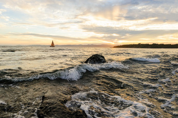 Obraz na Szkle Sailboat Sunset