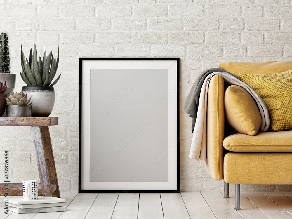 Fototapeta Mock up poster, interior composition, sofa, wood chair, flower and white poster, 3d render, 3d illustration