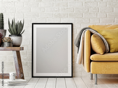 Photo  Mock up poster, interior composition, sofa, wood chair, flower and white poster,