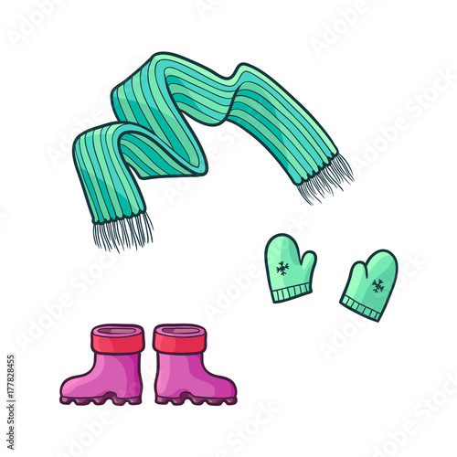 a14c4e6236eea ... kid child outfit apparel set - green knitted warm scarf, mittens gloves  with snowflakes and rubber boots. Isolated illustration on a white  background.