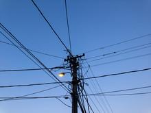 Transmission Line Post At Dusk