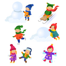 Kids, Children Doing Winter Ac...