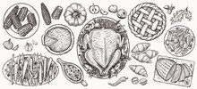 Thanksgiving Dinner, Top View. Food Vector Realistic Illustrations.