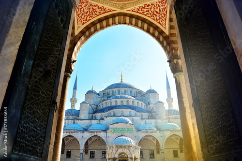 Unusual view of entrance to the Blue Mosque in Istanbul