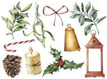 Watercolor Christmas Decor Wit...