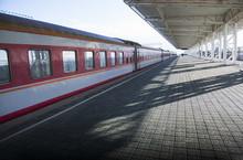 Platform At Railway Station In Sunlight Of Dawn