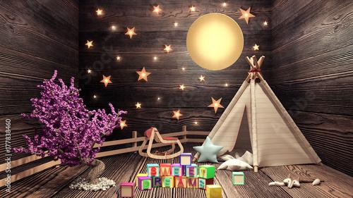 Fotomagnes koncepcja pokoju dziecięcego, słodkich snów i dobrej nocy renderowania 3D