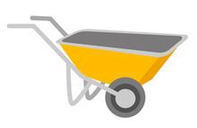 Yellow Wheelbarrow Vector Cart...