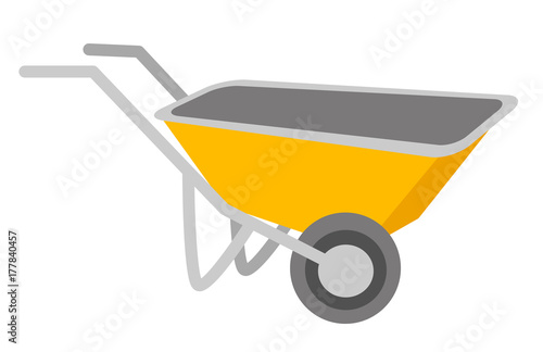 Fotografía  Yellow wheelbarrow vector cartoon illustration isolated on white background
