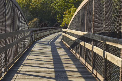 Pedestrian bridge over the Youghiogheny River on the Great Allegheny Passage Tra Canvas Print