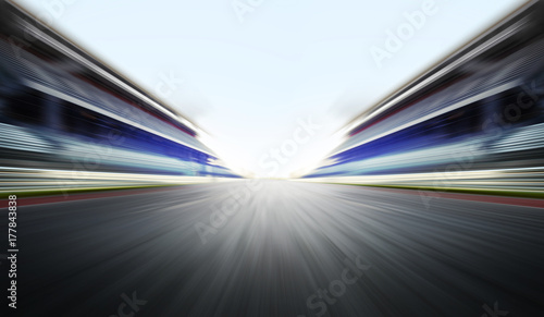 Ingelijste posters F1 motion blure background with road