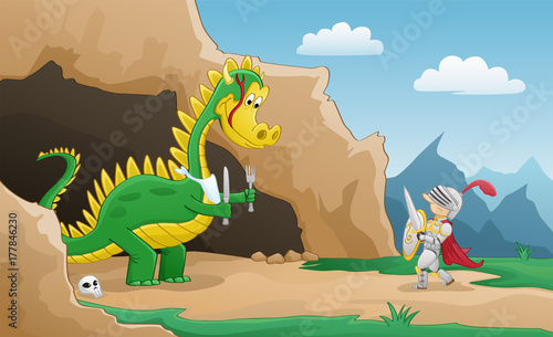 Plakat Happy Dragon Cartoon