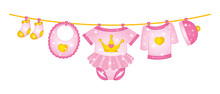 Vector Baby Girl Clothes Hanging On Line