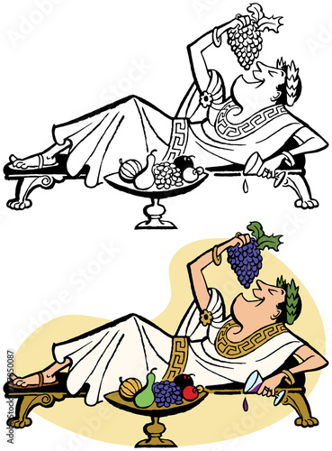 Fotografie, Obraz A roman emperor lounging on a chaise and feeding himself grapes