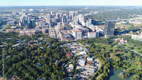 Aerial view of Herman Park near Medical center in downtown Houston, Texas