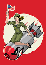 USA Pin Up  Girl Ride A Nuclea...