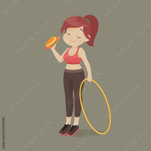 Fényképezés  Young woman eating a piece of fast food, Women refuse to exercise, Vector illust