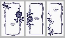 Set Of Decorative Vintage Frames With Roses And Leaves. Vector Floral Frame