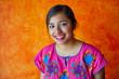Leinwanddruck Bild - Mexican woman with mayan dress latin