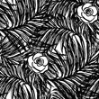 Ink hand drawn Summer seamless pattern with jungle leaves and flowers