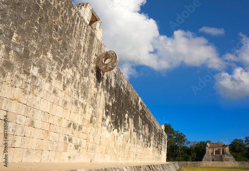 Photo Chichen Itza stone ring Maya ballgame court