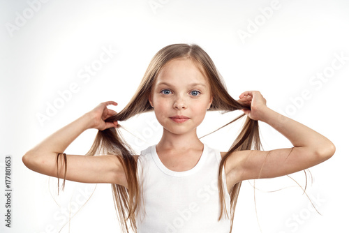 Fototapeta young girl with tails obraz